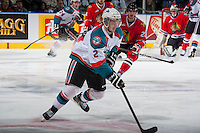 KELOWNA, CANADA - APRIL 18: Jesse Lees #2 of the Kelowna Rockets skates with the puck against the Portland Winterhawks on April 18, 2014 during Game 1 of the third round of WHL Playoffs at Prospera Place in Kelowna, British Columbia, Canada.   (Photo by Marissa Baecker/Shoot the Breeze)  *** Local Caption *** Jesse Lees;