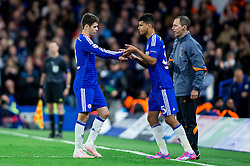 Dominic Solanke (R) of Chelsea as substitute for Oscar of Chelsea during football match between Chelsea FC and NK Maribor, SLO in Group G of Group Stage of UEFA Champions League 2014/15, on October 21, 2014 in Stamford Bridge Stadium, London, Great Britain. Photo by Vid Ponikvar / Sportida.com