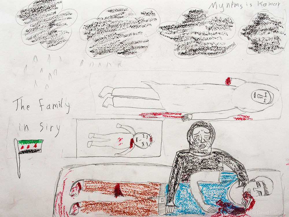 """Black clouds. A mother crying for her son, baby, and sister. She lost 3 family members."" Drawing by Syrian girl, age 13. (Topic for this session: dealing with loss.) (Note: Last name removed from top-right)"