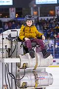 KELOWNA, CANADA - FEBRUARY 15: Orchard Park Zamboni Rider at the Kelowna Rockets game on February 15, 2019 at Prospera Place in Kelowna, British Columbia, Canada. (Photo By Cindy Rogers/Nyasa Photography, *** Local Caption ***
