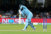 Jason Roy of England is hit on his pad and gets away with an lbw as he survived a review during the ICC Cricket World Cup 2019 Final match between New Zealand and England at Lord's Cricket Ground, St John's Wood, United Kingdom on 14 July 2019.