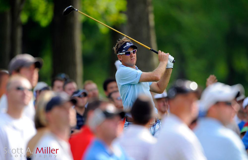Aug 13, 2009; Chaska, MN, USA; Ian Poulter (GBR) hits his tee shot on the 15th hole during the first round of the 2009 PGA Championship at Hazeltine National Golf Club.  ©2009 Scott A. Miller