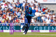 England ODI batsman Alex Hales shows his frustration after being caught behind during the 5th One Day International match between England and Australia at Old Trafford, Manchester, England on 24 June 2018. Picture by Simon Davies.