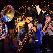 "Tubist ""Two Boots"", Saxophonist ""Soprano"", and Trumpter ""Dutch"" perform with Vaud and the Villains at The Music Hall in Portsmouth, NH. July 2012."