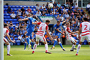 Peterborough United defender Ryan Tafazolli (5) sends this shot over the bar during the EFL Sky Bet League 1 match between Peterborough United and Doncaster Rovers at London Road, Peterborough, England on 1 September 2018.
