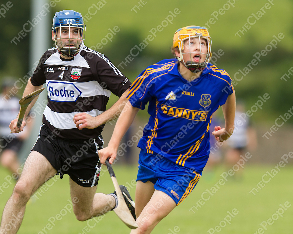 Clarecastle's Kieran Lynch and Kilanena's Tobias O'Mara keep their eye on the dropping ball