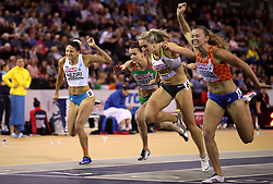Netherland's Nadine Visser (right) during the Women's 60m Hurdles Fial during day three of the European Indoor Athletics Championships at the Emirates Arena, Glasgow.
