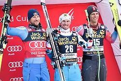 17.12.2016, Saslong, St. Christina, ITA, FIS Ski Weltcup, Groeden, Abfahrt, Herren, Siegerehrung, im Bild v.l. Aksel Lund Svindal (NOR, 2. Platz), Max Franz (AUT, 1. Platz), Steven Nyman (USA, 3. Platz) // f.l. second Placed Aksel Lund Svindal of Norway, race winner Max Franz of Austria, third placed Steven Nyman of the USA during the winner Ceremony for the men's downhill of FIS Ski Alpine World Cup Saslong race course in St. Christina, Italy on 2016/12/17. EXPA Pictures © 2016, PhotoCredit: EXPA/ Erich Spiess