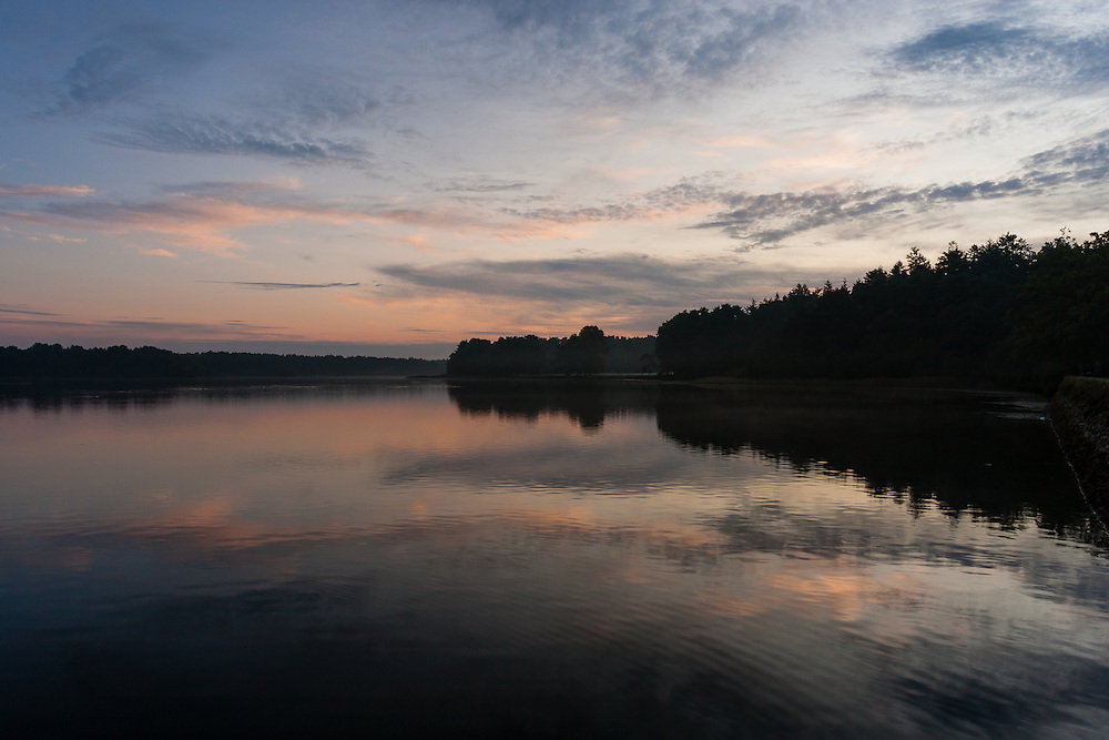 All is calm at dawn at Etang du Pas du Houx, in Broceliande Forest, near Rennes, Brittany