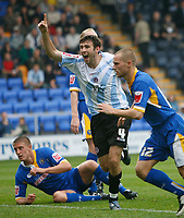 Photo: Steve Bond.<br /> Shrewsbury Town v Chesterfield. Coca Cola League 2. 13/10/2007. Jamie Lowry fires in Chesterfield goal no2