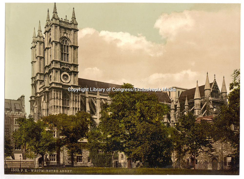 Stunning Old photochrome prints turn back the clock in London <br /><br />colourised postcards from the Victorian era,  postcards were made using photochrom - a method of producing colourised photos from negatives<br /><br />Photo shows: Westminster Abbey, England, between 1890 and 1900<br />©Library of Congress/Exclusivepix Media