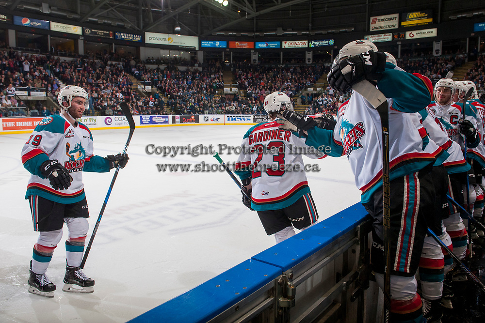 KELOWNA, CANADA - APRIL 14: Dillon Dube #19 and Reid Gardiner #23 skate to the bench to celebrate a goal against the Portland Winterhawksof the Kelowna Rockets  on April 14, 2017 at Prospera Place in Kelowna, British Columbia, Canada.  (Photo by Marissa Baecker/Shoot the Breeze)  *** Local Caption ***