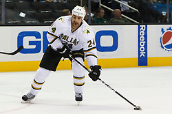 Dec 8, 2011; San Jose, CA, USA; Dallas Stars left wing Eric Nystrom (24) warms up before the game against the San Jose Sharks at HP Pavilion.  San Jose defeated Dallas 5-2. Mandatory Credit: Jason O. Watson-US PRESSWIRE