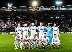 27.02.2020, Linzer Stadion, Linz, AUT, UEFA EL, LASK vs AZ Alkmaar, Sechzehntelfinale, im Bild 1. Reihe v.l. Reinhold Ranftl (LASK), Thomas Goiginger (LASK), Dominik Frieser (LASK), James Holland (LASK), Peter Michorl (LASK), 2. Reihe v.l. Philipp Wiesinger (LASK), Gernot Trauner (LASK Linz), Petar Filipovic (LASK Linz), Marko Raguz (LASK), Tormann Alexander Schlager (LASK), Rene Renner (LASK) // during the UEFA Europa League round of the last 32, 2nd leg match between LASK and AZ Alkmaar at the Linzer Stadion in Linz, Austria on 2020/02/27. EXPA Pictures © 2020, PhotoCredit: EXPA/ Reinhard Eisenbauer