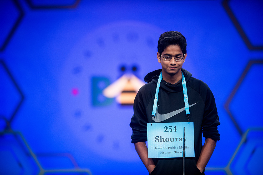 Shourav Dasari, 14, from Spring, Texas, participates in the finals of the 2017 Scripps National Spelling Bee on Thursday, June 1, 2017 at the Gaylord National Resort and Convention Center at National Harbor in Oxon Hill, Md.      Photo by Pete Marovich/UPI