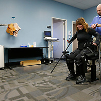 Thomas Wells   BUY at PHOTOS.DJOURNAL.COM<br /> Carla Belue of Red Bay Alabama gets to stand up and walk again thanks to the ReWalk she purchased. Belue was paralyzed following a car accident in 1992 and is now able to walk for the first time in 24 years.
