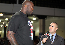 August 27, 2010; Boston, MA; USA; Shaquille O'Neal speaks with ESPN MMA Live's Jon Anik at the UFC Fan Expo in Boston.