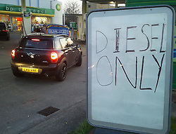 © Licensed to London News Pictures. 29/03/2012.Petrol Stations running out of unleaded.  Panic buying tonight 7pm (29.03.2012) at Sidcup BP Station,in South East London..Photo credit : Grant Falvey/LNP