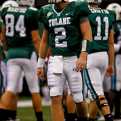 Sep 11, 2010; New Orleans, LA, USA; Tulane Green Wave quarterback Kevin Moore (2) on the field during warm ups before a game against the Mississippi Rebels at the Louisiana Superdome. The Mississippi Rebels defeated the Tulane Green Wave 27-13.  Mandatory Credit: Derick E. Hingle