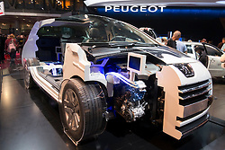 Cut away of Peugeot 3008 hybrid 4 diesel car at Paris Motor Show 2012
