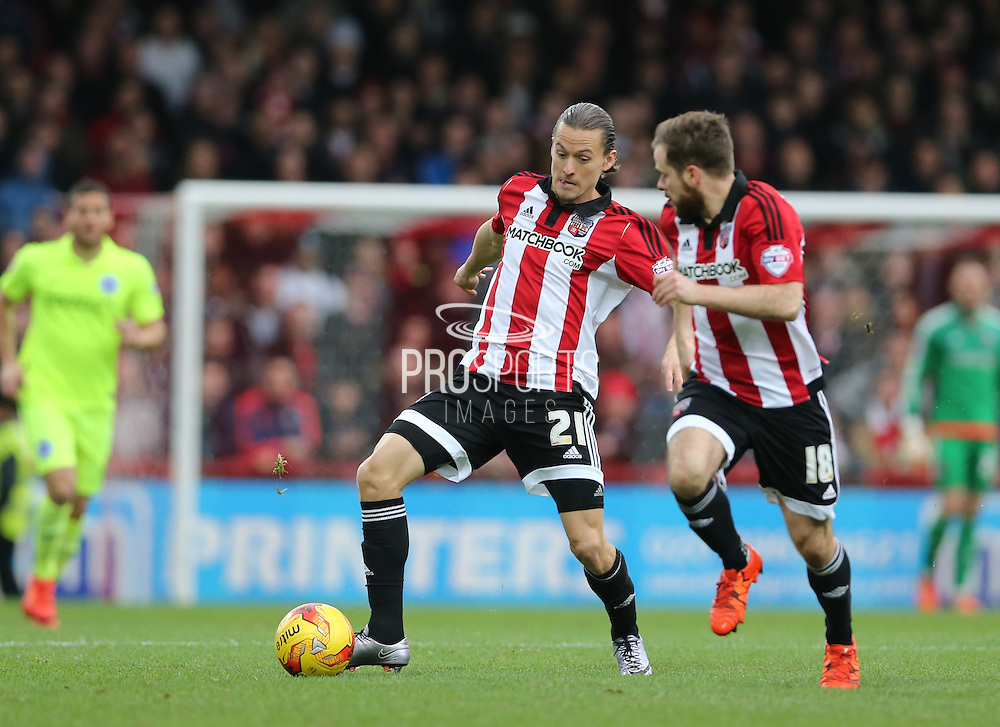 Brentford forward Lasse Vibe during the Sky Bet Championship match between Brentford and Brighton and Hove Albion at Griffin Park, London, England on 26 December 2015.