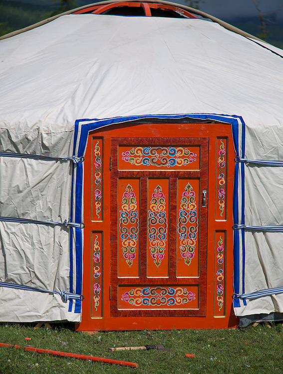 A traditional Mongolian Ger is erected on the shores of Lake Hovsgol on July 24, 2012.  © 2012 Tom Turner Photography