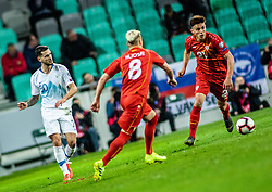 Egzijan Alioski of Macedonia and Eljif Elmas of Macedonia vs Petar Stojanović of Slovenia during football match between National teams of Slovenia and North Macedonia in Group G of UEFA Euro 2020 qualifications, on March 24, 2019 in SRC Stozice, Ljubljana, Slovenia.  Photo by Matic Ritonja / Sportida