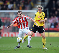 Watford/Stoke City Championship 15.03.08 <br /> Photo: Tim Parker Fotosports International<br /> Darius Henderson Watford & Glenn Whelan Stoke City