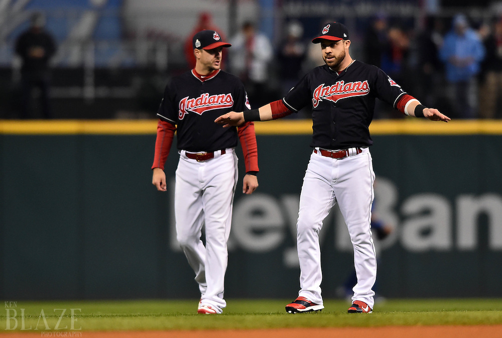 Oct 26, 2016; Cleveland, OH, USA; Cleveland Indians players Lonnie Chisenhall (left) and Jason Kipnis (right) before game two of the 2016 World Series against the Chicago Cubs at Progressive Field. Mandatory Credit: Ken Blaze-USA TODAY Sports