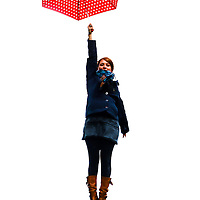 Mary Poppins with her red umbrella