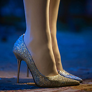 April 26, 2012 - New York, NY : Irish singer and songwriter Julie Feeney wore glittery high heels, this silver pair being her first of two pairs of the evening, as she performed at the Irish Arts Center in Manhattan on Thursday night. CREDIT : Karsten Moran for The New York Times
