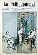 Cell and Library at the prison at Fresnes. From 'Le Petit Journal', Paris, 9 November 1907. France was suffering from the Apaches at the time, and some thought the French prisons should be more like the English ones.