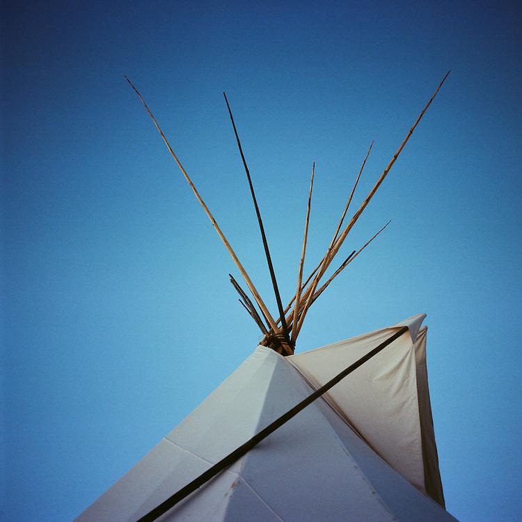 OCETI SAKOWIN CAMP, CANNON BALL, NORTH DAKOTA - DECEMBER 6, 2016: A teepee at the Oceti Sakowin Camp.