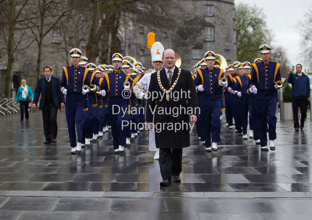16/3/2013.No Charge for Media Repro.Extended Picture Caption:..Friday 16th March 2012..The University of Notre Dame band performing at a Civic Reception at the Parade Plaza in front of Kilkenny Castle. The Mayor of Kilkenny, Cllr. David Fitzgerald welcomed the band as part of their St. Patricks Day visit to Ireland where they performed in Mallow, Galway and Kilkenny ahead of the bands participation in the St. Patricks Festival Parade in Dublin on Saturday...Pictured leading the band is The Mayor of Kilkenny, Cllr. David Fitzgerald.. ..The visit to Ireland is part of the build-up to the Navy V Notre Dame American College Football match taking place on Irish soil this year. The game is one of the longest running fixtures in American Sport and this September 1st, the Emerald Isle Classic, will be played at the Aviva Stadium. Over 25,000 Americans are travelling to Ireland for the game and tickets, starting from 35, will go on sale next Tuesday (March 20th) at 10.00 through www.ticketmaster.ie, by phone on 0818-719300* and in Ticketmaster outlets nationwide..Picture Dylan Vaughan.