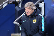 Manchester City Manager Manuel Pellegrini  during the Champions League Round of 16 match between Manchester City and Dynamo Kiev at the Etihad Stadium, Manchester, England on 15 March 2016. Photo by Simon Davies.