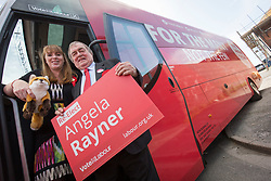 &copy; Licensed to London News Pictures. 27/5/17 GREATER MANCHESTER    , UK.  <br /> <br /> Angela Rayner and John Prescott brought their campaign buses to Greater Manchester on Saturday morning (Sat 27th May 2017) in Ashton-Under-Lyne as part of the Labour Party general election campaign. They spoke at Ashton United Football Club before boarding their buses.<br />  <br /> Angela Rayner will say:<br />   <br /> Photo credit: CHRIS BULL/LNP
