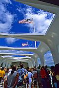 Image of the USS Arizona Memorial at Pearl Harbor, Honolulu, Oahu, Hawaii, America West
