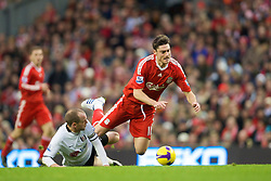 LIVERPOOL, ENGLAND - Saturday, November 22, 2008: Liverpool's Albert Riera and Fulham's captain Danny Murphy during the Premiership match at Anfield. (Photo by David Rawcliffe/Propaganda)