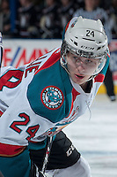 KELOWNA, CANADA -FEBRUARY 5:Tyson Baillie #24 of the Kelowna Rockets faces off against the Red Deer Rebels  on February 5, 2014 at Prospera Place in Kelowna, British Columbia, Canada.   (Photo by Marissa Baecker/Getty Images)  *** Local Caption *** Tyson Baillie;