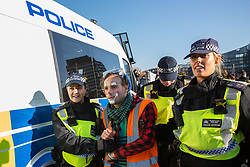 London, UK. 17th November, 2018. Police officers arrest a clown after environmental campaigners from Extinction Rebellion blocked Lambeth Bridge, one of five bridges blocked in central London, as part of a Rebellion Day event to highlight 'criminal inaction in the face of climate change catastrophe and ecological collapse' by the UK Government as part of a programme of civil disobedience during which scores of campaigners have been arrested.