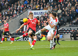 Bristol City's Matt Smith has a shot blocked  - Photo mandatory by-line: Joe Meredith/JMP - Mobile: 07966 386802 - 07/02/2015 - SPORT - Football - Milton Keynes - Stadium MK - MK Dons v Bristol City - Sky Bet League One