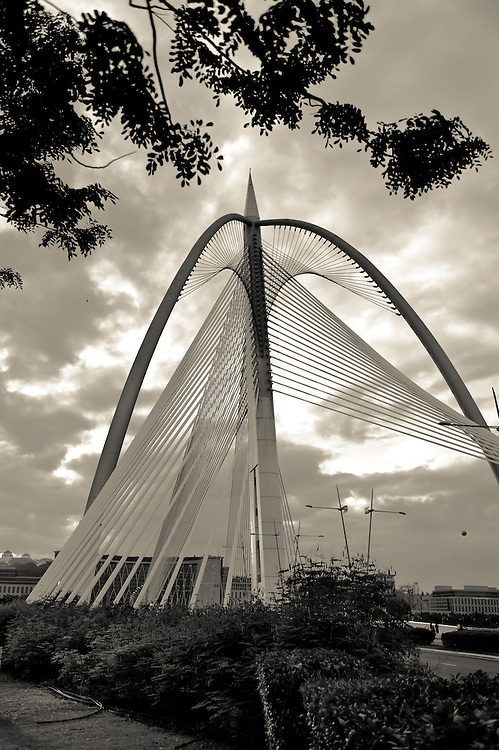 Stock photograph of the Seri Wawasan Bridge in Putrajaya, Malaysia. The image emphasises the superb abstract architectural design.