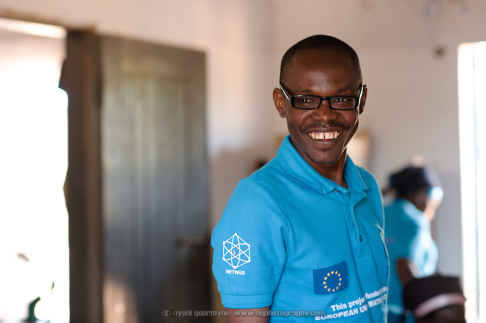 Moses Opolot, Plan Uganda Program Officer for Menstrual Hygiene Management, at the Afripads factory in the village of Kitengeesa in the Central Region of Uganda on 30 July 2014.