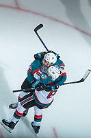 KELOWNA, CANADA - FEBRUARY 24: Leif Mattson #28 and Jack Cowell #8 of the Kelowna Rockets celebrate a third period goal against the Kamloops Blazers  on February 24, 2018 at Prospera Place in Kelowna, British Columbia, Canada.  (Photo by Marissa Baecker/Shoot the Breeze)  *** Local Caption ***