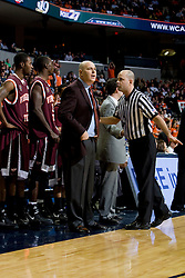 Virginia Tech head coach Seth Greenberg is warned for leaving the coach's box.  The Virginia Cavaliers men's basketball team faced the Virginia Tech Hokies at the John Paul Jones Arena in Charlottesville, VA on January 16, 2008.