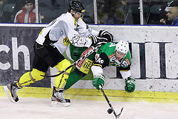 16.12.2012, Hala Tivoli, Ljubljana, SLO, EBEL, HDD Telemach Olimpija Ljubljana vs Dornbirner Eishockey Club, 31. Runde, in picture Michael Henrich (Dornbirner Eishockey Club, #27) and Ales Music (HDD Telemach Olimpija, #16) during the Erste Bank Icehockey League 31st Round match between HDD Telemach Olimpija Ljubljana and Dornbirner Eishockey Club at the Hala Tivoli, Ljubljana, Slovenia on 2012/12/16. (Photo By Matic Klansek Velej / Sportida)