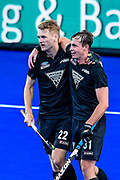 Blair Tarrant of the Black Sticks celebrates his goal with Hayden Phillips of the Black Sticks during the FIH Pro League for Hockey played between Germany v Black Sticks Men, Nga Puna Wai Hockey Stadium in Christchurch. 15th February 2019. Copyright photo: John Davidson / www.photosport.nz