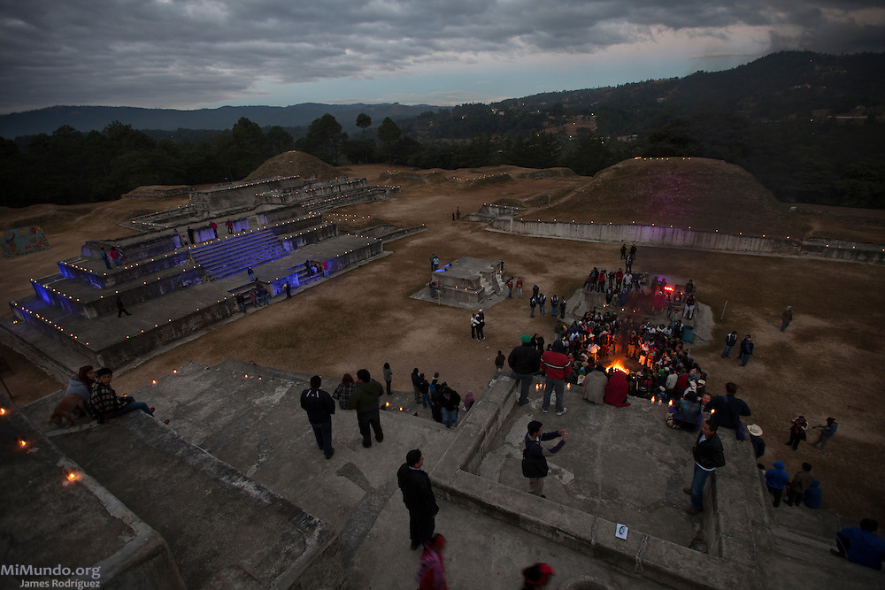 Celebrations in the ancient Mayan site of Zaculeu marking the end of the Mayan Era known as 13 Baktun. Zaculeu, Huehuetenango, Guatemala. December 21, 2012.