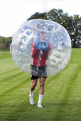 Aden Flint looks on as Bristol City play Football Darts from Bristol Bubble Ball Ltd after training - Rogan Thomson/JMP - 30/09/2016 - FOOTBALL - Failand Training Ground - Bristol, England.