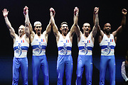 Cyril Tommasone, Julien Godaux, Edgar Boulet, Axel Augis and Loris Fracas 3rd of the team competition during the presentation of the teams during the European Championships Glasgow 2018, Team Men Final at The SSE Hydro in Glasgow, Great Britain, Day 10, on August 11, 2018 - Photo Laurent Lairys / ProSportsImages / DPPI